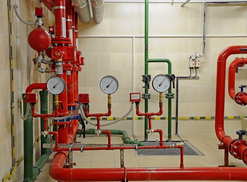 Het systeem van de de sproeiercontrole van de brand royalty-vrije stock afbeeldingen
