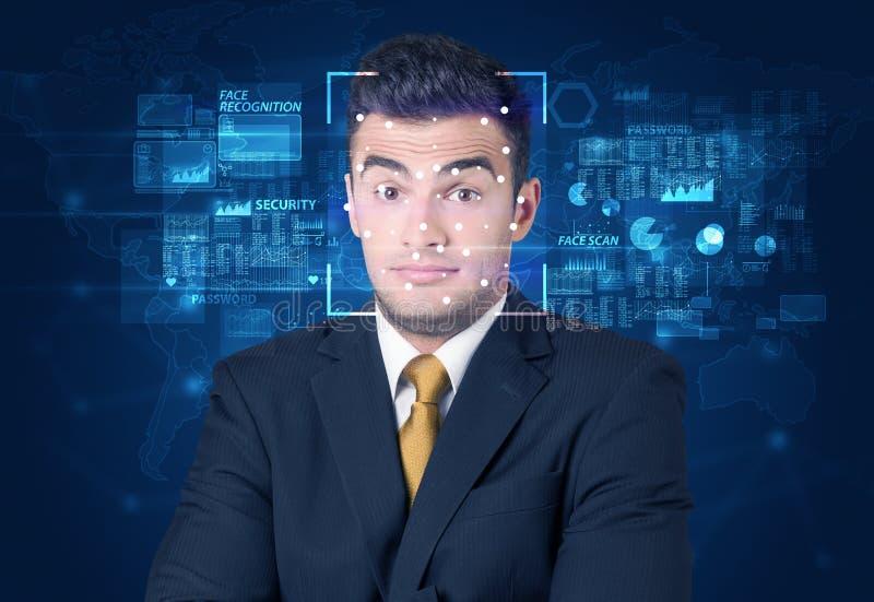 Het systeem van de gezichtserkenning stock foto's