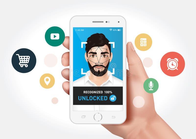 Het systeem van de gezichtserkenning met de mobiele toepassing wordt geïntegreerd die vector illustratie
