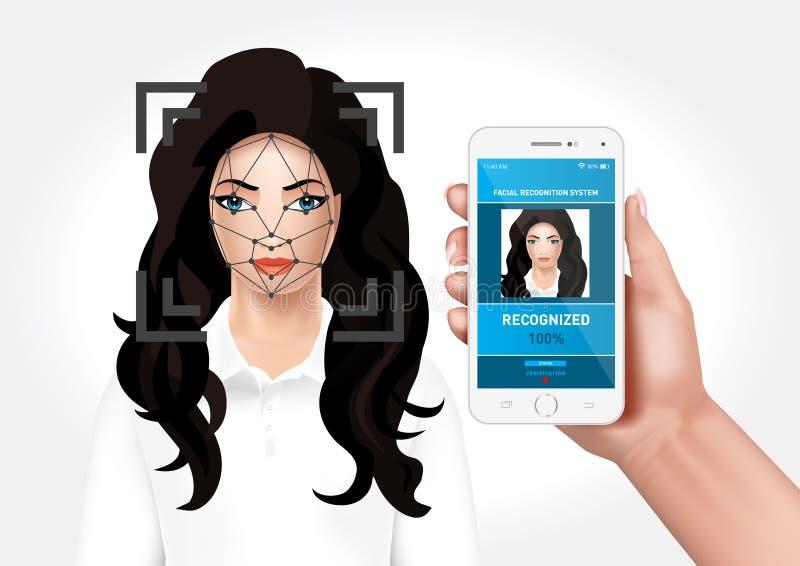 Het systeem van de gezichtserkenning met de mobiele toepassing wordt geïntegreerd die royalty-vrije illustratie