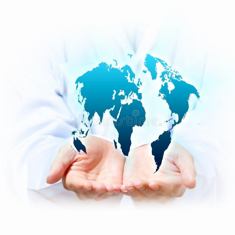 Het systeem van de planeet in uw handen stock afbeeldingen