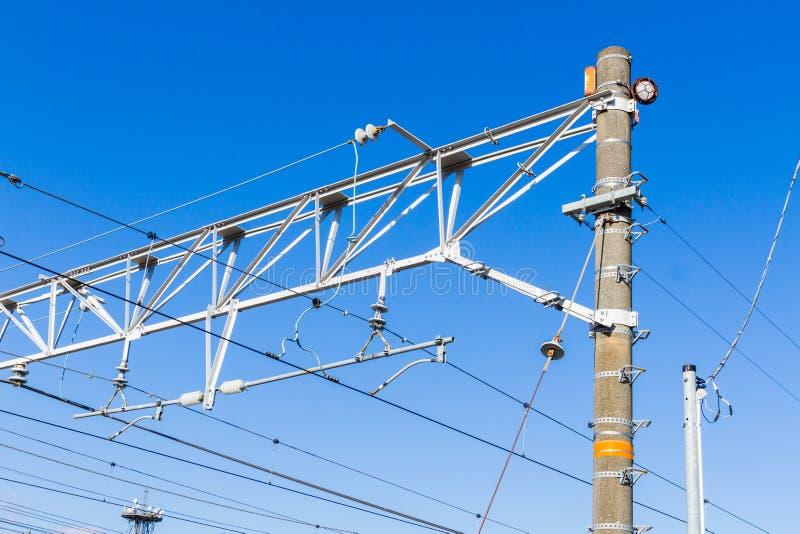 Het systeem van de spoorwegelektrificatie royalty-vrije stock foto