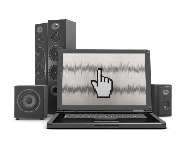 Het systeem van het huistheater en laptop computer royalty-vrije illustratie
