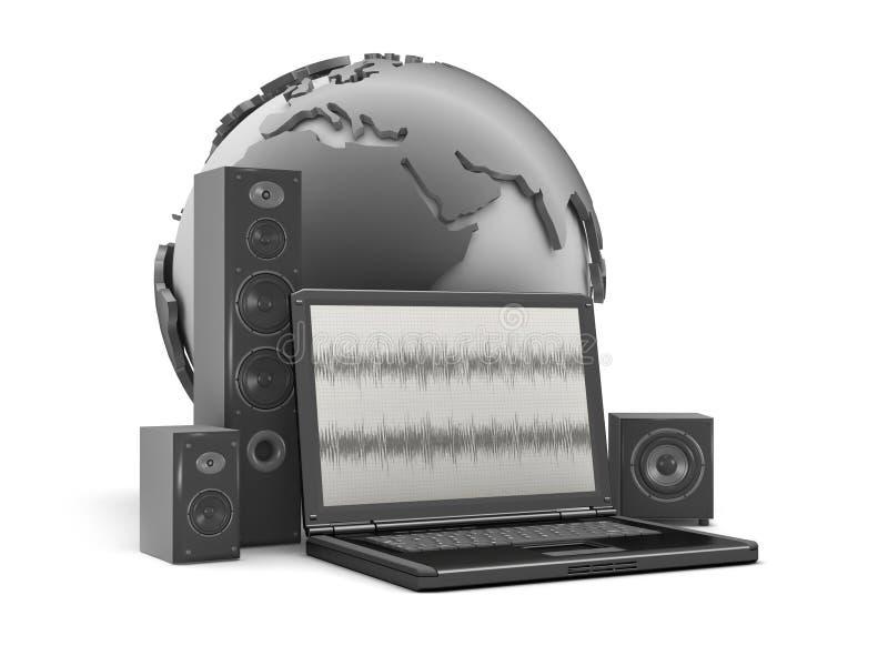 Het systeem van het huistheater, laptop en aardebol royalty-vrije illustratie