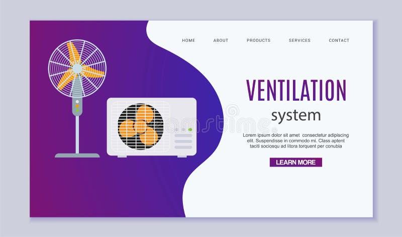 Het systeem vectorillustratie van de huisventilatie Huis met airconditioning, klimaatcontrole en ventilatormateriaal vector illustratie