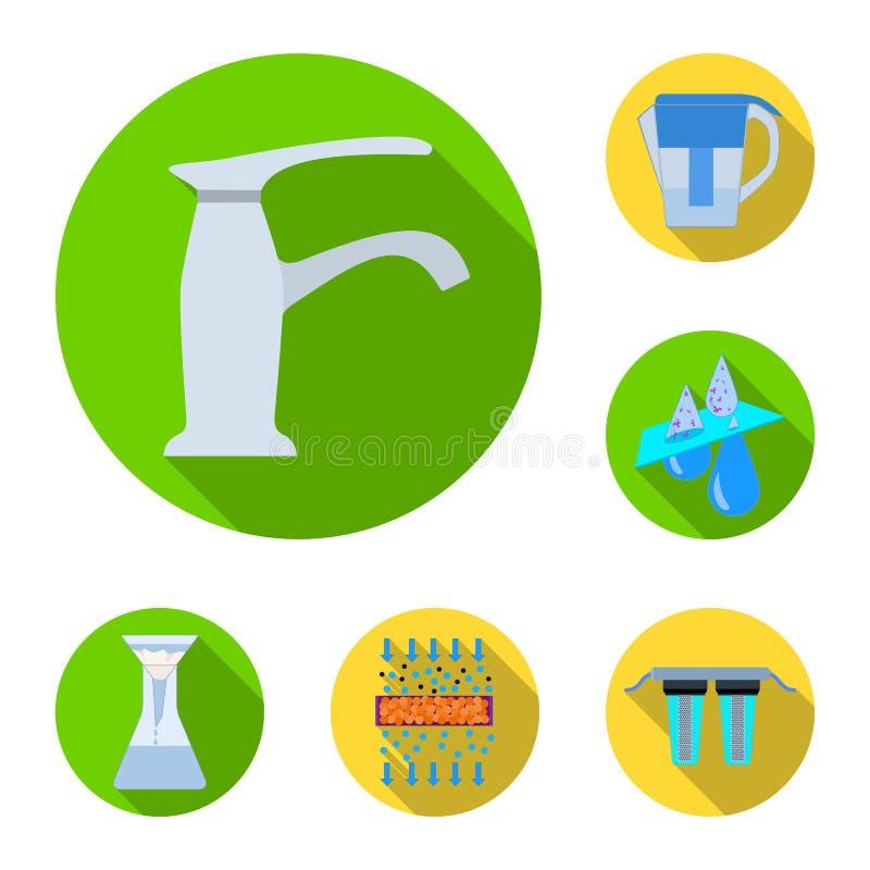 Het systeem vlakke pictogrammen van de waterfiltratie in vastgestelde inzameling voor ontwerp De schoonmakende illustratie van he vector illustratie
