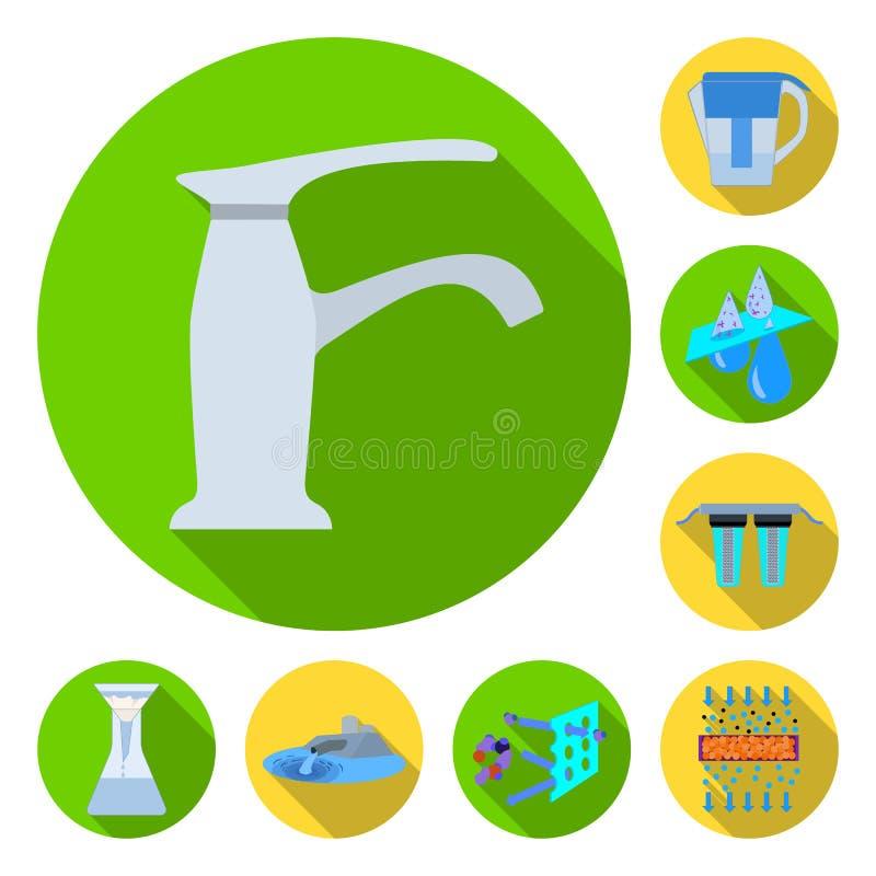 Het systeem vlakke pictogrammen van de waterfiltratie in vastgestelde inzameling voor ontwerp De schoonmakende illustratie van he stock illustratie