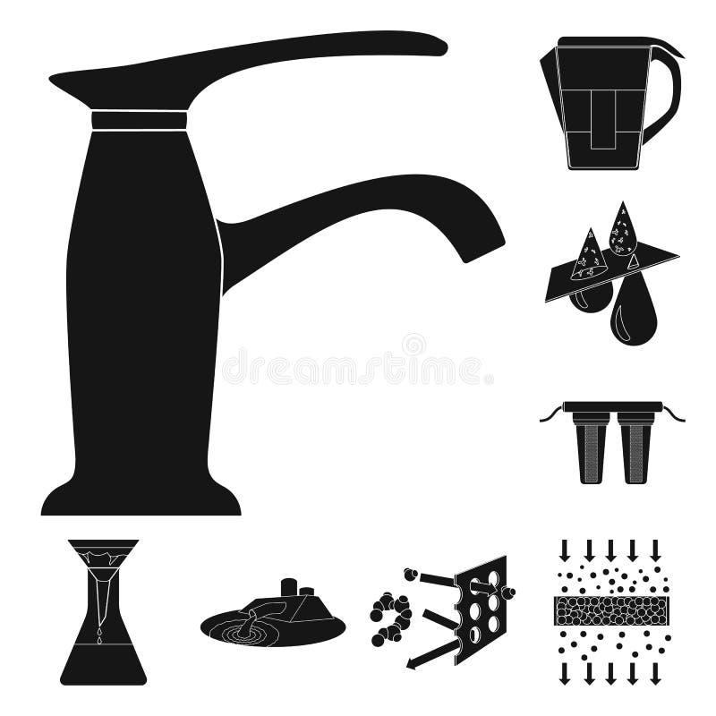 Het systeem zwarte pictogrammen van de waterfiltratie in vastgestelde inzameling voor ontwerp Het schoonmaken de voorraadweb van  royalty-vrije illustratie