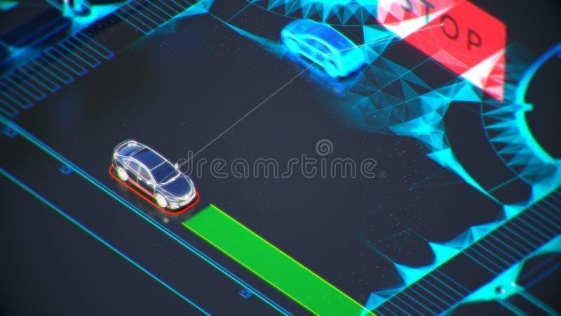 Het systeemconcept van het Autonomevervoer, slimme stad, Internet van dingen, voertuig aan voertuig, voertuig aan infrastructuur royalty-vrije illustratie