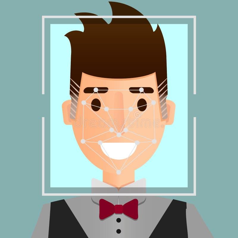 Het systeemillustratie van de gezichtserkenning Het biometrische concept van de veiligheidsidentificatie vector illustratie