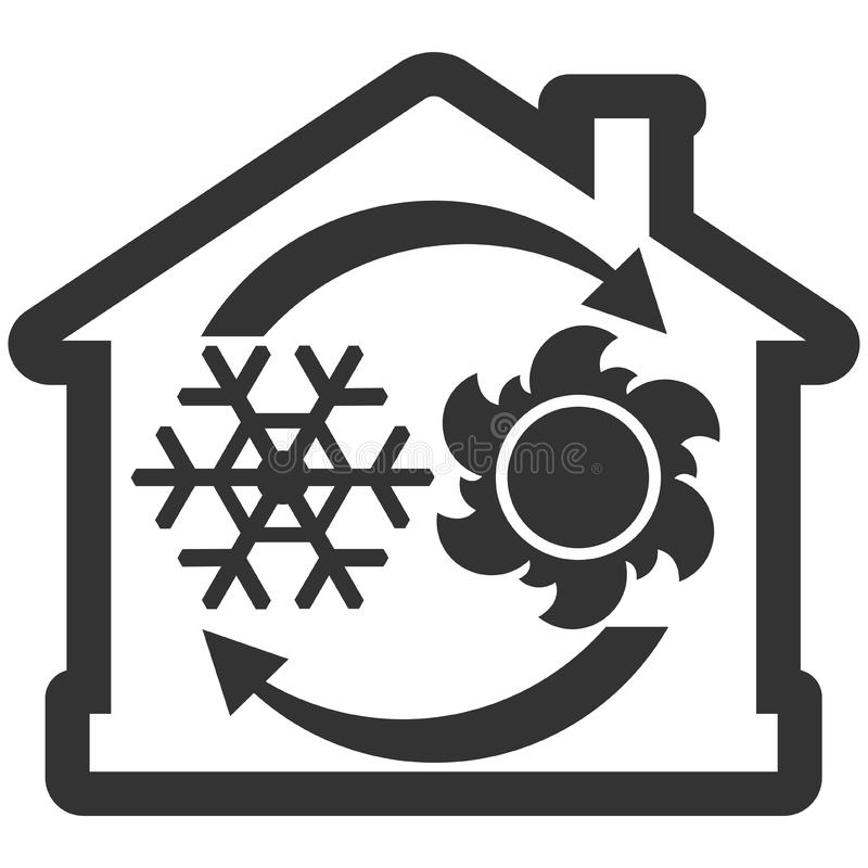 Het systeempictogram van de luchtvoorwaarde, huis met sneeuwvlok, zon en pijlen vector illustratie