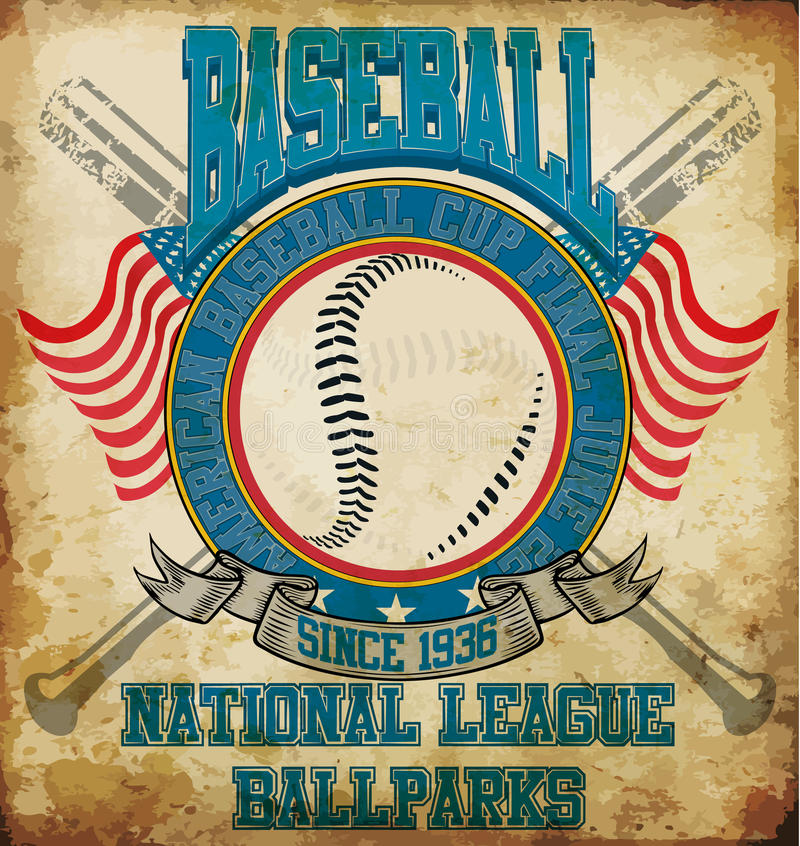 Het T-stuk Grafisch Ontwerp van honkbal Amerikaans sporten vector illustratie