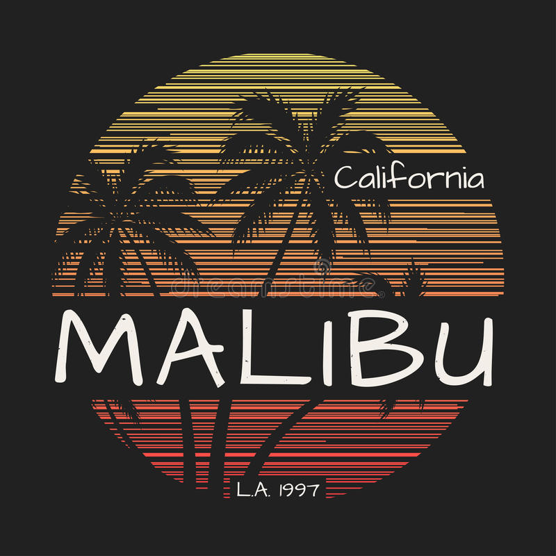 Het T-stukdruk van Malibucalifornië met palmen royalty-vrije illustratie
