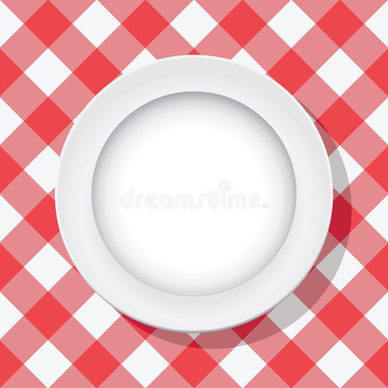 Het tafelkleed van de picknick en lege plaat