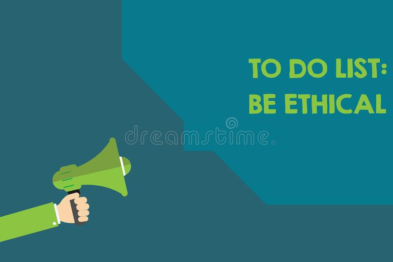 Het Takenlijst van de handschrifttekst Ethisch is Concept het betekenen plant of herinnering die in een ethische cultuur wordt ge vector illustratie