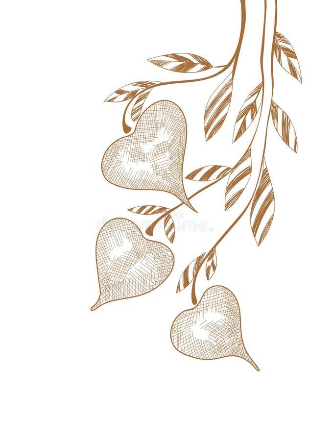 Het takje van de handtekening met harten op wit vector illustratie