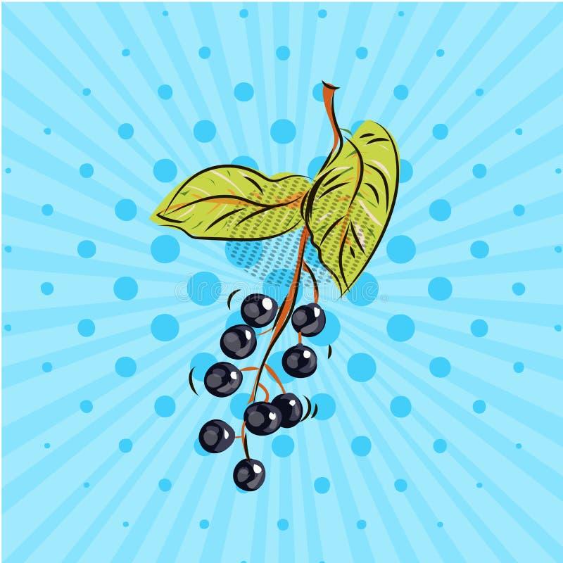 Het takje van de vogelkers op blauwe achtergrond Vector illustratie Hand op stijlpop-art dat wordt getrokken stock illustratie