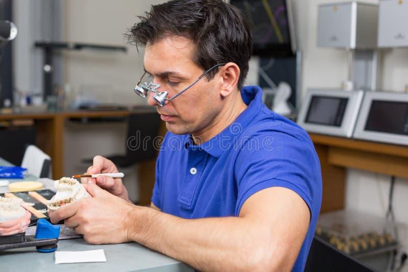 Het tand appying porselein van de laboratoriumtechnicus aan vorm stock fotografie