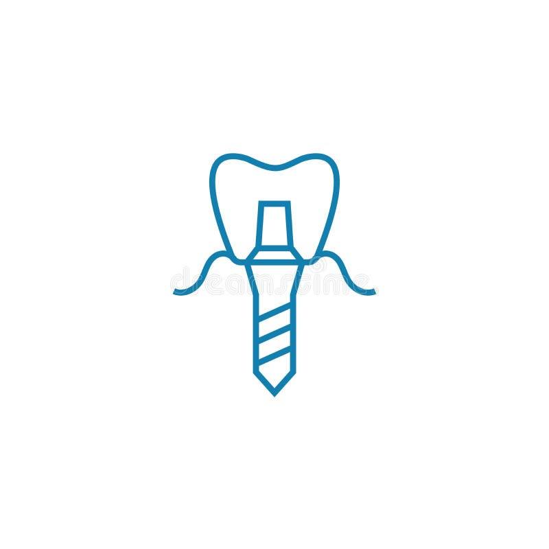 Het tandconcept van het prothese lineaire pictogram Het tand vectorteken van de protheselijn, symbool, illustratie royalty-vrije illustratie