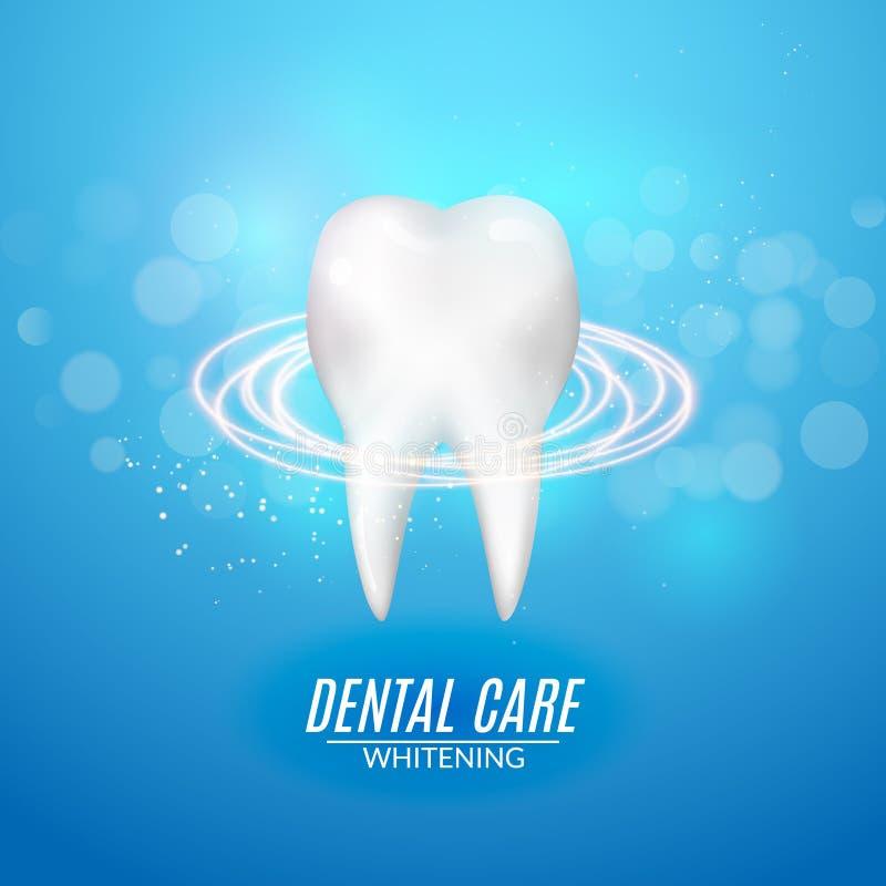 Het tandontwerp van de zorgaffiche Het schone gezonde vectorconcept van het tandpictogram royalty-vrije illustratie