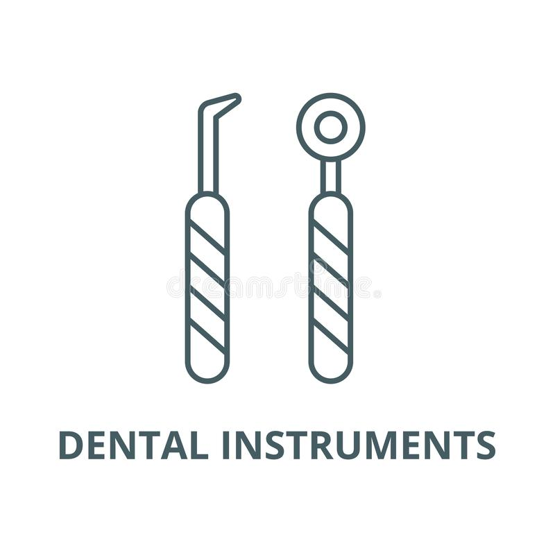 Het tandpictogram van de instrumentenlijn, vector Het tandteken van het instrumentenoverzicht, conceptensymbool, vlakke illustrat vector illustratie