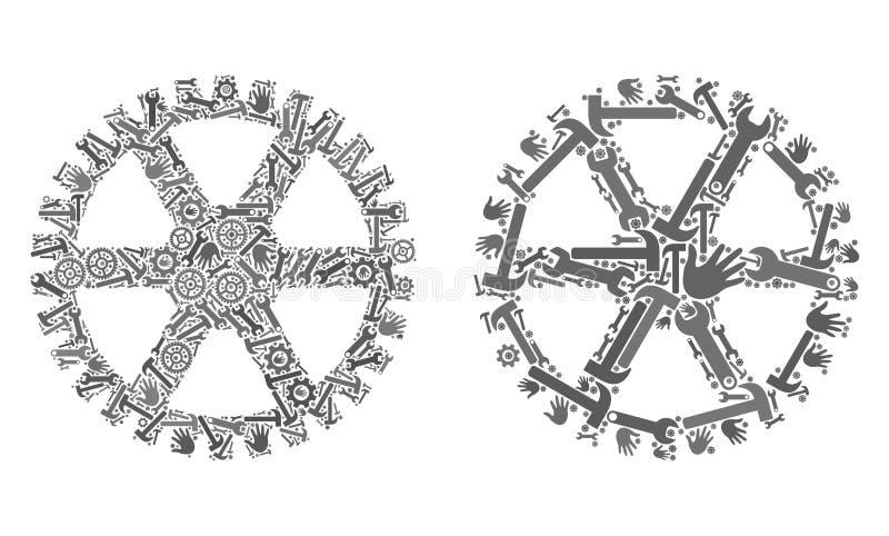 Het Tandwielpictogrammen van de mozaïekklok van Reparatiehulpmiddelen vector illustratie