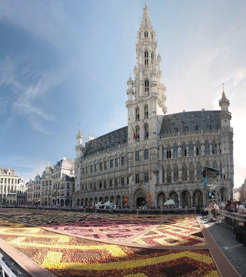 Het tapijt van de bloem in Brussel, België stock afbeelding