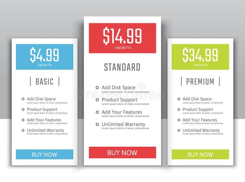 Het tarief plannen voor websites en toepassingen royalty-vrije illustratie