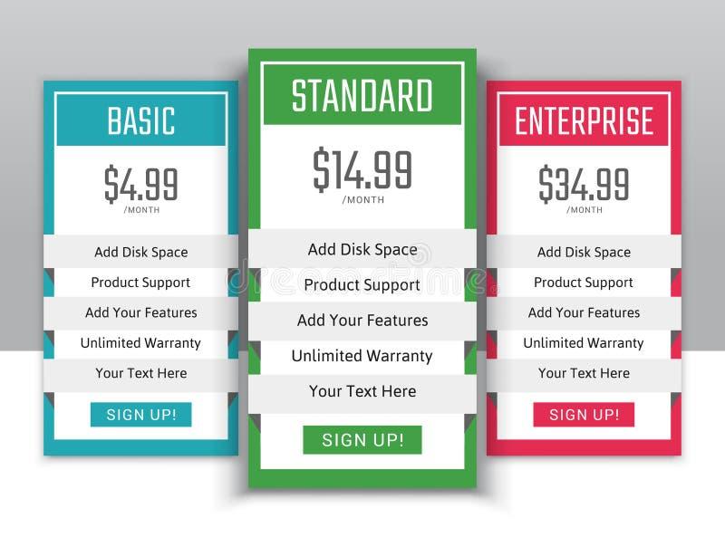 Het tarief plannen voor websites en toepassingen stock illustratie