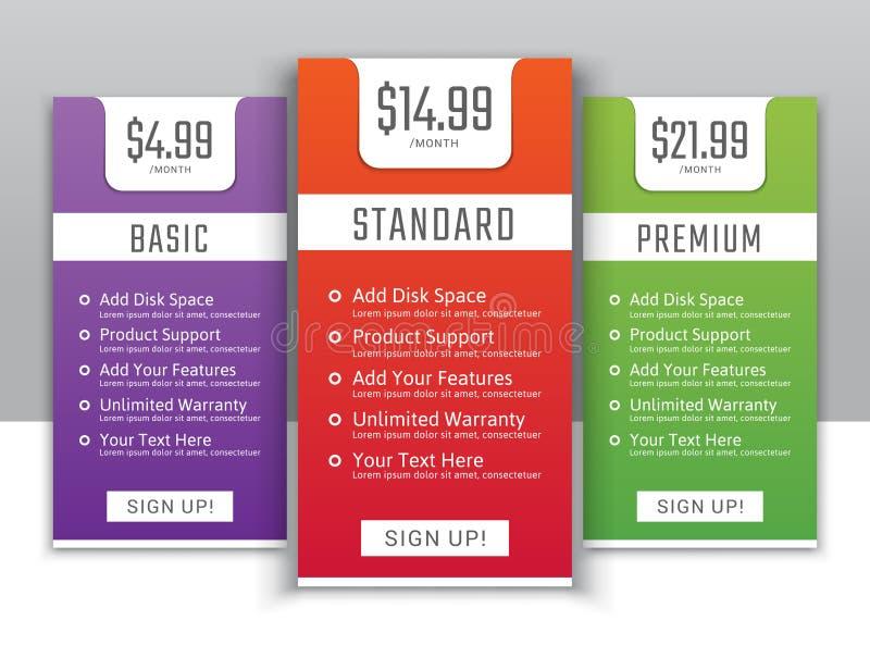 Het tarief plannen voor websites en toepassingen vector illustratie