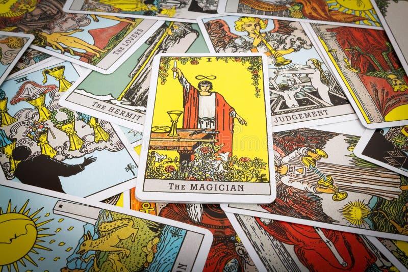 Het Tarot van tarotkaarten stock afbeeldingen