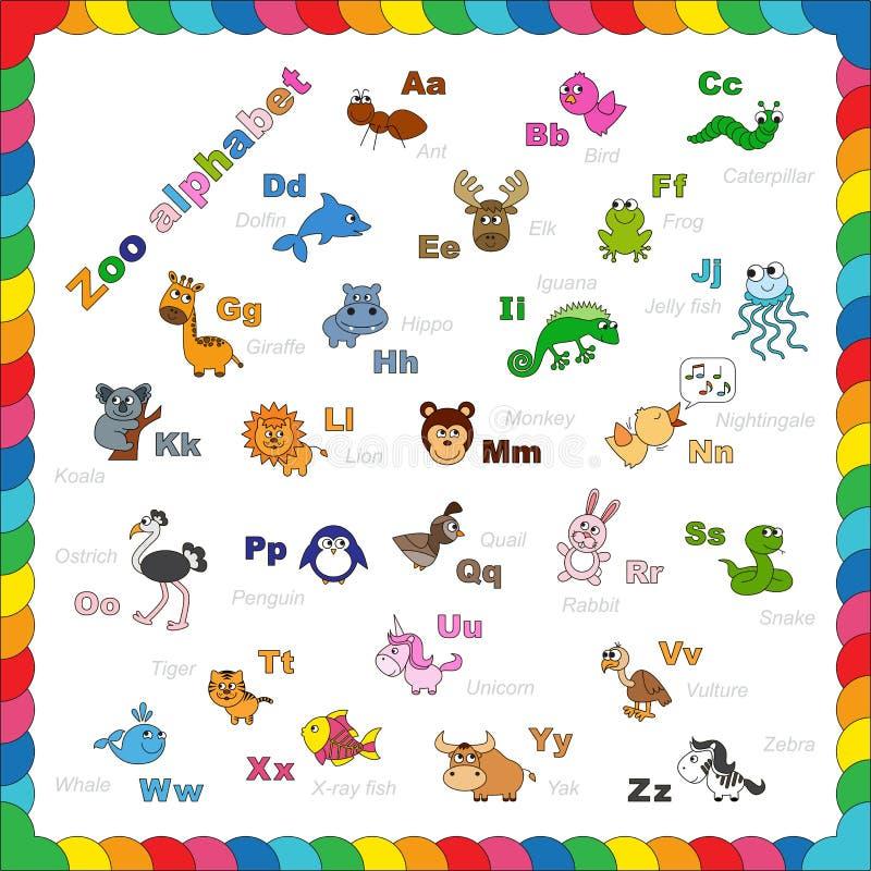 Het te kleuren alfabet van de overzichtsdierentuin stock illustratie