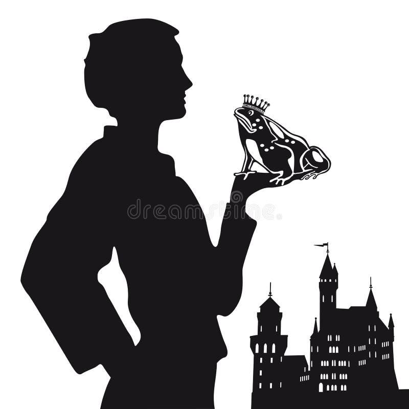 Het te kussen wachten van de kikkerprins vector illustratie