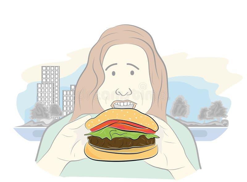 Het te zware meisje eet hamburger Gezond voedsel zwaarlijvigheid Vector illustratie stock illustratie