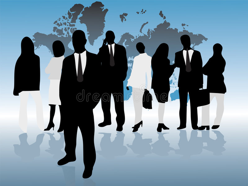 Het team en de leider stock illustratie
