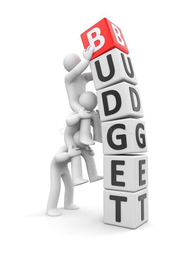 Het team houdt de begroting stock illustratie