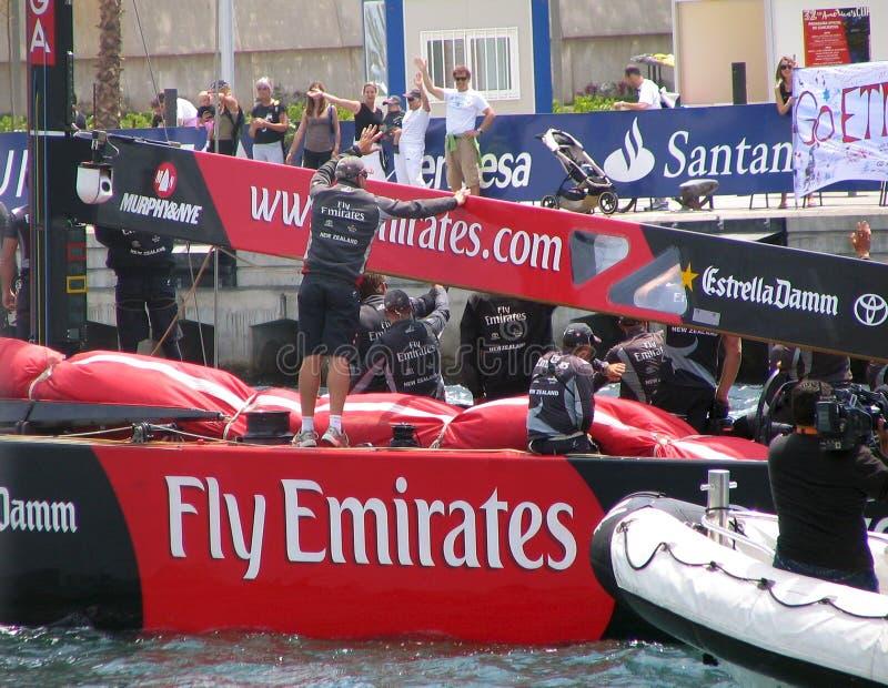 Het Team Nieuwe Zeland van de Emiraten van de vlieg stock foto