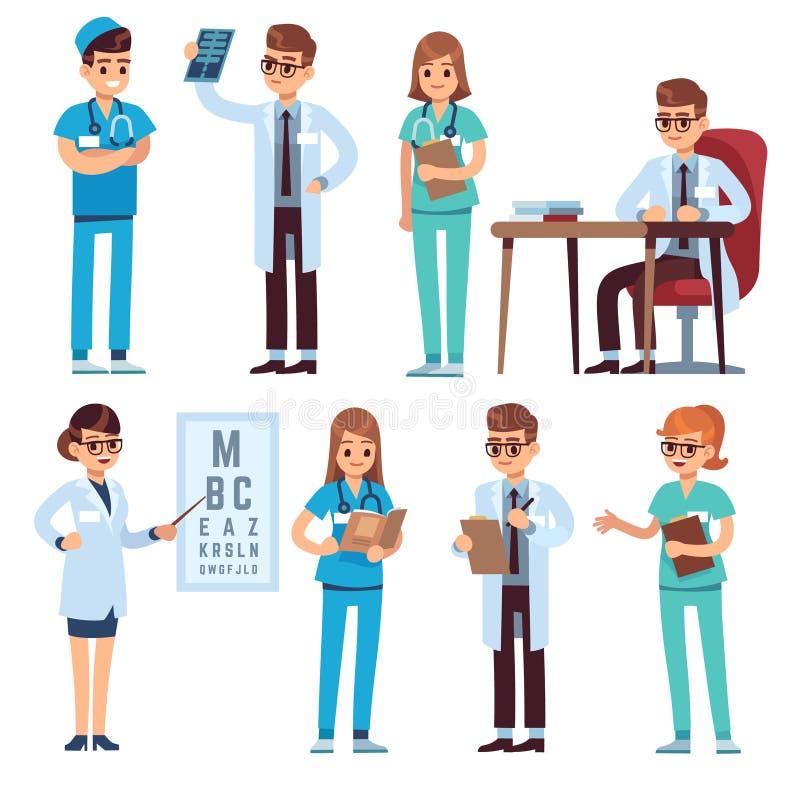 Het team van artsen Het medische personeelsmensen van de de chirurgenapotheker van de artsenverpleegster eenvormige ziekenhuis va royalty-vrije illustratie