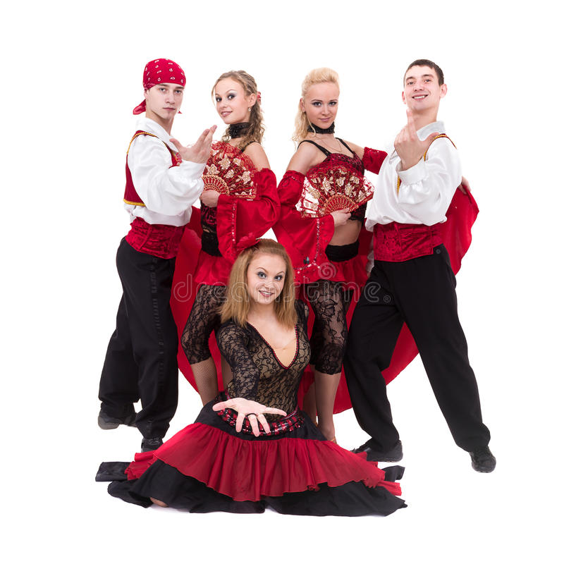 Het team van de Flamenkodanser dansen geïsoleerd op witte achtergrond royalty-vrije stock afbeelding