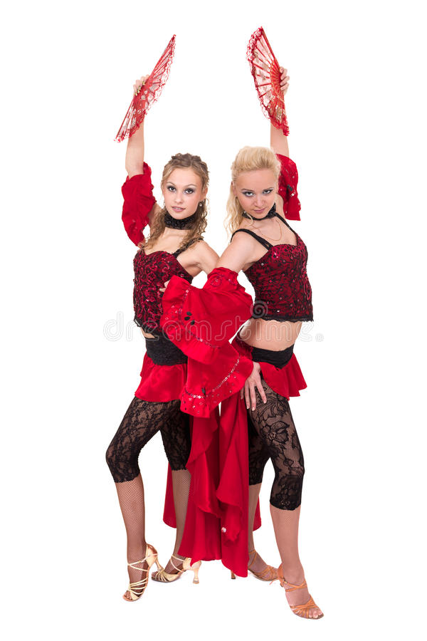 Het team van de Flamenkodanser dansen geïsoleerd op witte achtergrond stock afbeeldingen