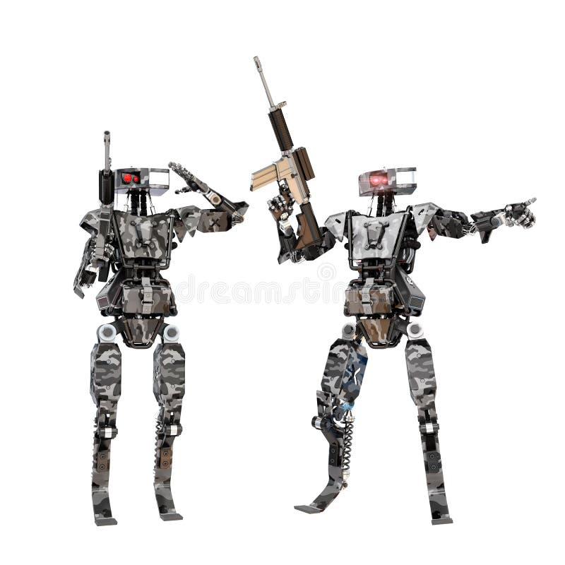 Het team van de robotmilitair royalty-vrije stock fotografie