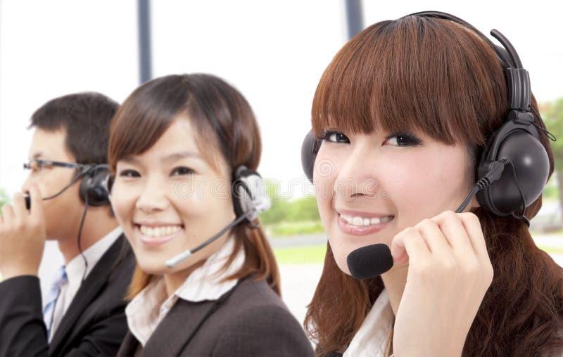 Het team van de van Bedrijfs similing klantendienst stock afbeeldingen
