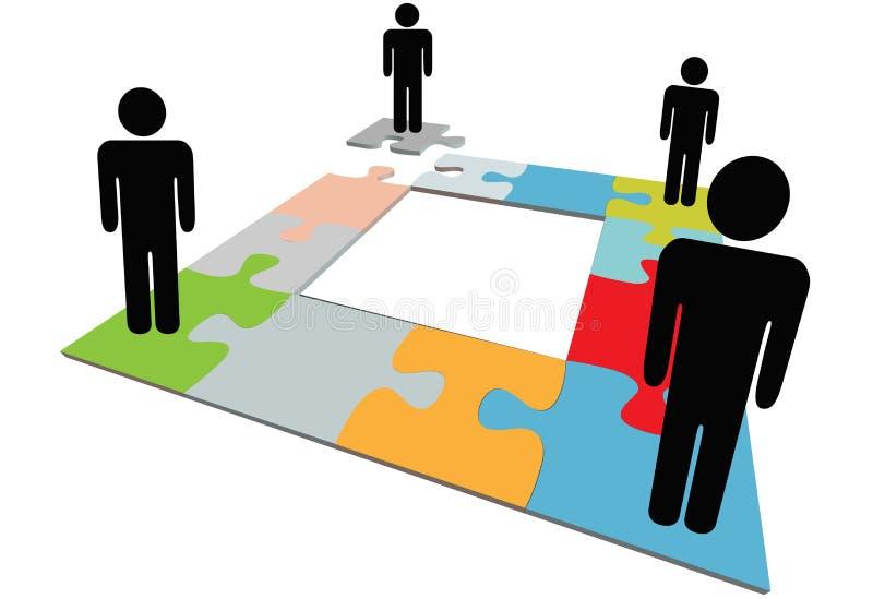 Het team van mensen vindt oplossing om probleem in verwarring te brengen vector illustratie