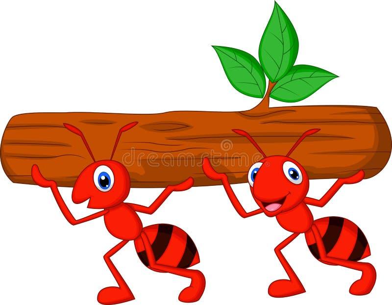 Het team van mierenbeeldverhaal draagt logboek vector illustratie