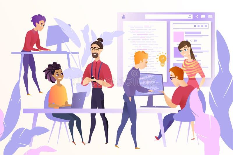 Het Team van Webontwikkelaars bij het Werk Vectorconcept royalty-vrije illustratie