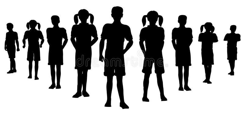 Het teamsilhouet van het kind stock illustratie