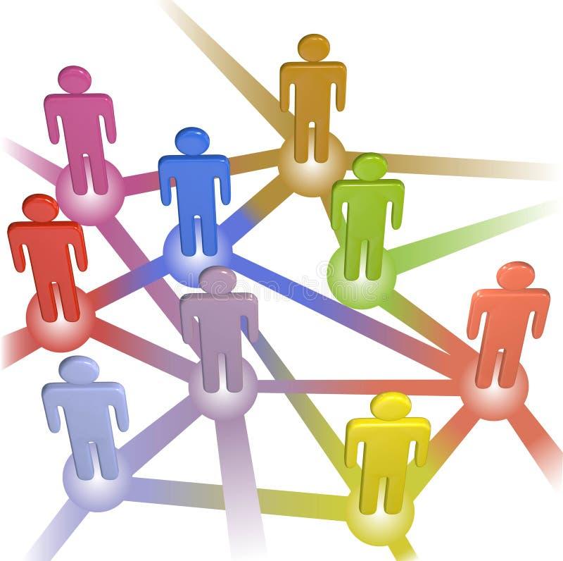 Het teamtribune van mensen op de oplossing van raadselstukken stock illustratie
