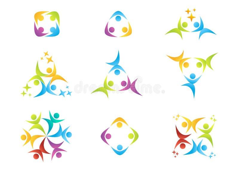 Het teamwerk, embleem, onderwijs, mensen, viering, partnersymbool, groepspictogram stock illustratie