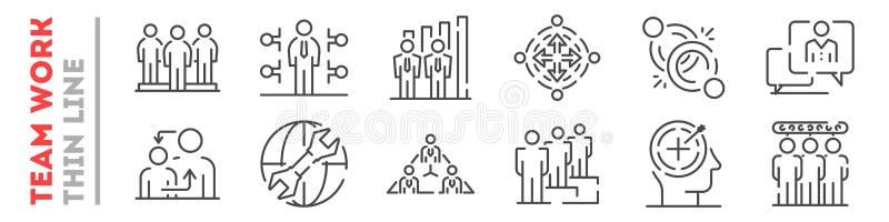 Het teamwerk en samenwerking in bedrijfreeks dunne lijnpictogrammen die op wit wordt geïsoleerd stock illustratie