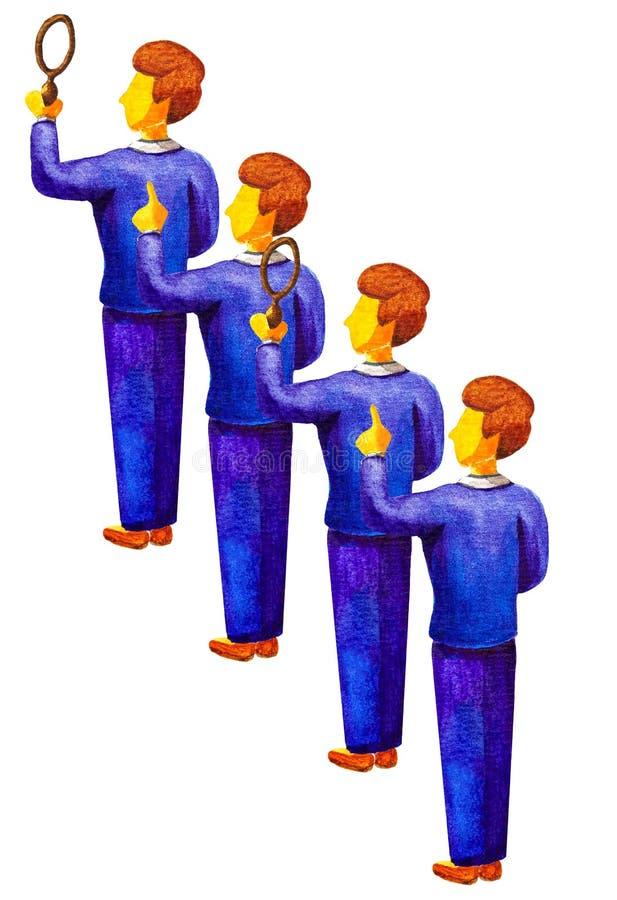 Het teamwerk om het antwoord, ideeën, oplossingen te vinden Jonge beambtentribune op een rij Men houdt een vergrootglas, een ande royalty-vrije illustratie